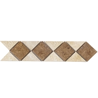 Border Triangle Mosaic Tile Light - Noche Travertine Border mosaic, accent tile, light travertine, noche travertine