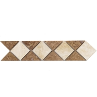 Border Triangle Mosaic Tile Noche with Ivory Travertine Border mosaic, accent tile, light travertine, noche travertine