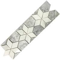 Star Border Mosaic Tile Bianco Carrara Light Grey Star shape mosaic, Star shape border, White light grey tile border, Star Shape grey border, Grey mosaic border, Star Shape border tile, Grey star shape mosaic