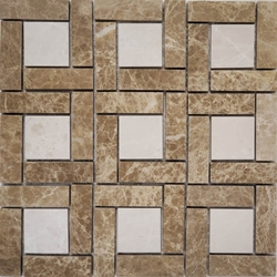 Target Pinwheel Pattern Tile Mosaic Light Emperador and Botticino