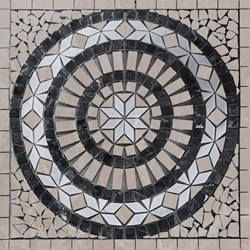 Medallion Mosaic Tile Bottichino White Black Marble Polished