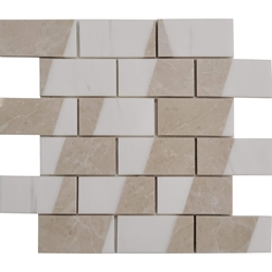 2 x4 Custom Design Mosaic Tile Dolomite White Botticino Beige