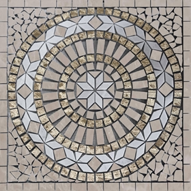 Medallion Mosaic Tile Bottichino White Emperador Marble Polished