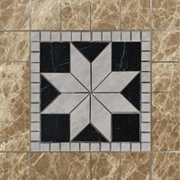 Medallion Mosaic Tile Emperador Black and White Marble Polished