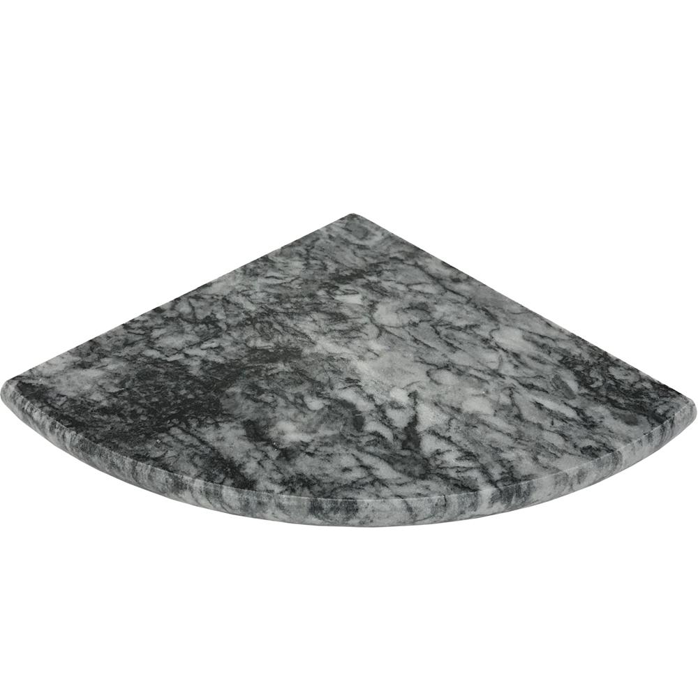 Black grey marble stone bathroom corner shelf for Marble bathroom shelf