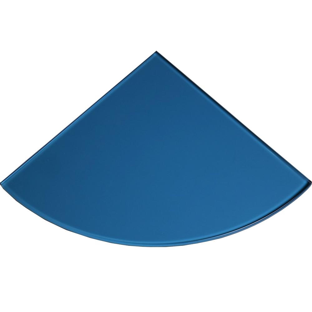 Blue Tempered Glass Bathroom Caddy Corner Shelf