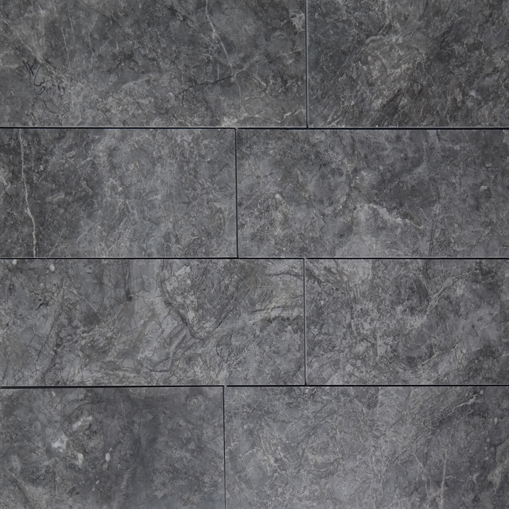 4 X 12 Tile Dark Grey Marble Polished