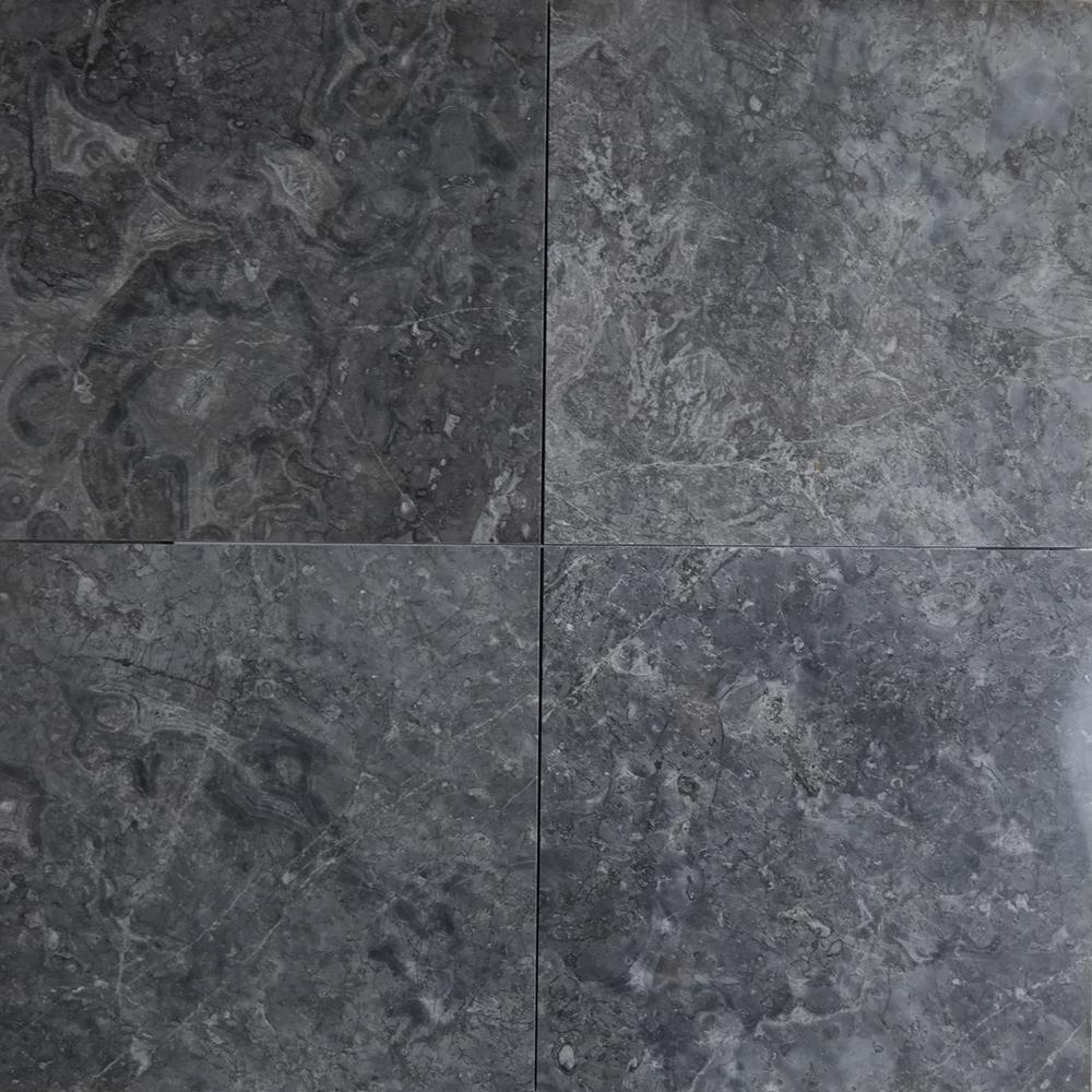 12 X Tile Dark Grey Marble Polished