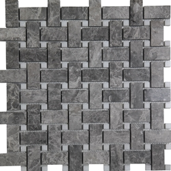 Basketweave Mosaic Tile Cosmos Grey Marble Polished