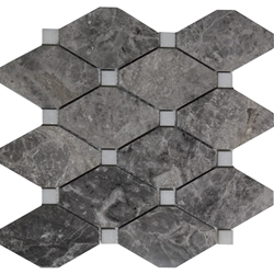 Diamond Mosaic Tile Dark Grey and White Marble Polished