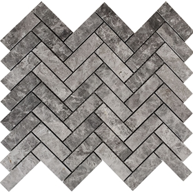 Herringbone Mosaic Tile Dark Grey Marble Polished
