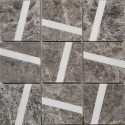4 x 4 Custom Design Mosaic Tile Dark Grey Dolomite Marble Line