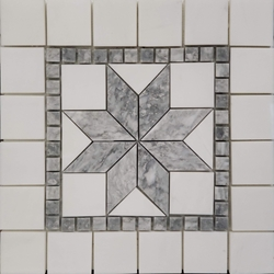 Medallion Mosaic Tile Dolomite Marble Polished