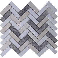 Herringbone Tile Mosaic Dolomite Grey Baige Mixed