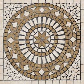 Medallion Mosaic Tile Noche with Light Travertine Honed