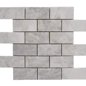 2 x 4 Tile Mosaic Moon White Carrara Marble