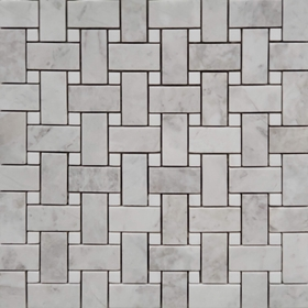 Basketweave Tile Mosaic Moon White Carrara White Dot