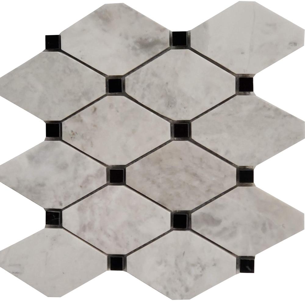 Long Octagon Tile Mosaic Moon White Carrara With Black Dot