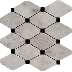 Long Octagon Tile Mosaic Moon White Carrara With Black Dot