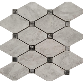 Long Octagon Tile Mosaic Moon White Carrara Grey Black Dot