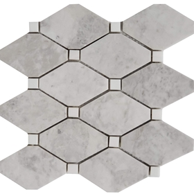 Long Octagon Tile Mosaic Moon White Carrara With Dolomite Dot
