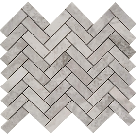 Herringbone Mosaic Tile Moon White Carrara Marble Polished