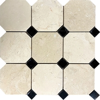 Octagon Mosaic Tile Beige Marfil - Absolute Black