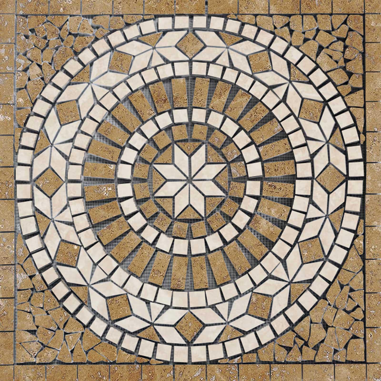 Medallion Mosaic 24 Noche Travertine