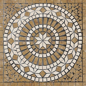 Medallion Mosaic Tile Noche and Light Travertine Honed