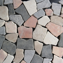 Mixed Color Flat Stone Pebble Mosaic Tile