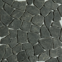 Black Flat Stone Pebble Mosaic Tile