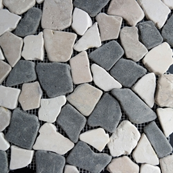 Beige Black Flat Stone Pebble Mosaic Tile