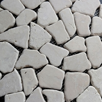 Cream Flat Stone Pebble Mosaic Tile