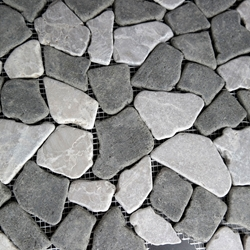Grey Black Flat Stone Pebble Mosaic Tile
