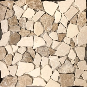 Botticino Beige Emperador Mixed Flat Pebble Mosaic Tile