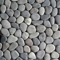 Black Round Stone Pebble Mosaic Tile