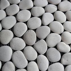 Light Beige Round Stone Pebble Mosaic Tile