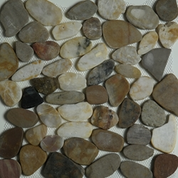 Mixed Color  Sliced Stone Pebble Mosaic Tile