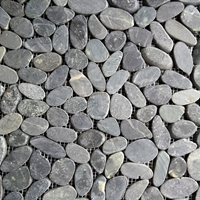 Black Sliced Stone Pebble Mosaic Tile