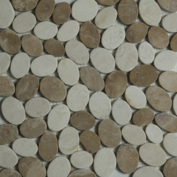 Beige Brown Sliced Stone Pebble Mosaic Tile