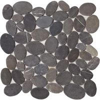 Black Mixed Sliced Stone Pebble Mosaic Tile