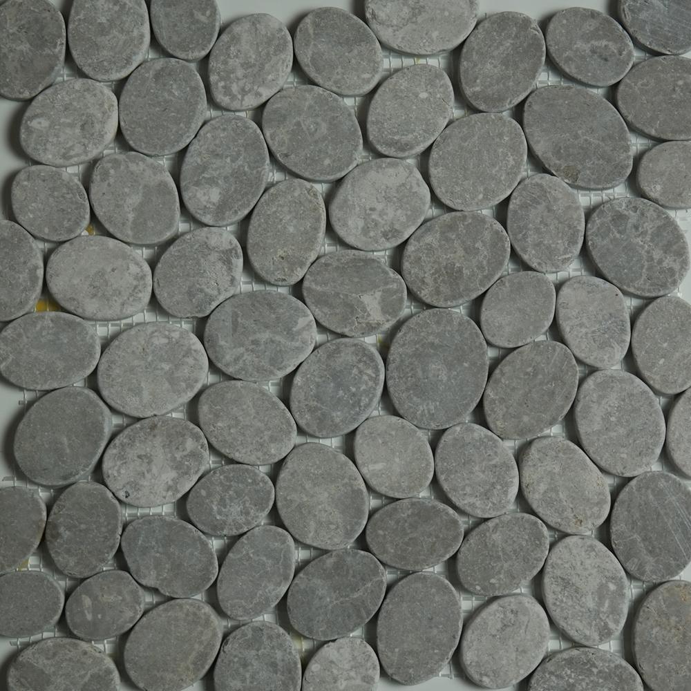 Light Grey Sliced Pebble Mosaic