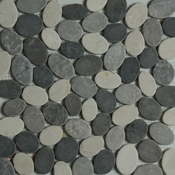 Grey Beige Light Grey Sliced Stone Pebble Mosaic Tile