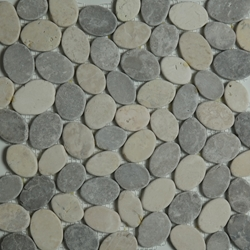 Grey Beige Sliced Stone Pebble Mosaic Tile