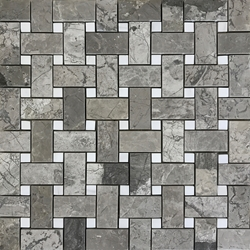 Basketweave Mosaic Tile Shades Of Grey Dolomite Marble Polished