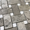 Basketweave Mosaic Tile Shades Of Grey Dolomite Marble Polished - SOGPB12
