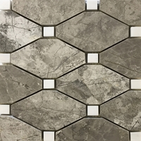 Boliche Mosaic Tile Shades Of Grey Dolomite Marble Polished Long Octagon Mosaic