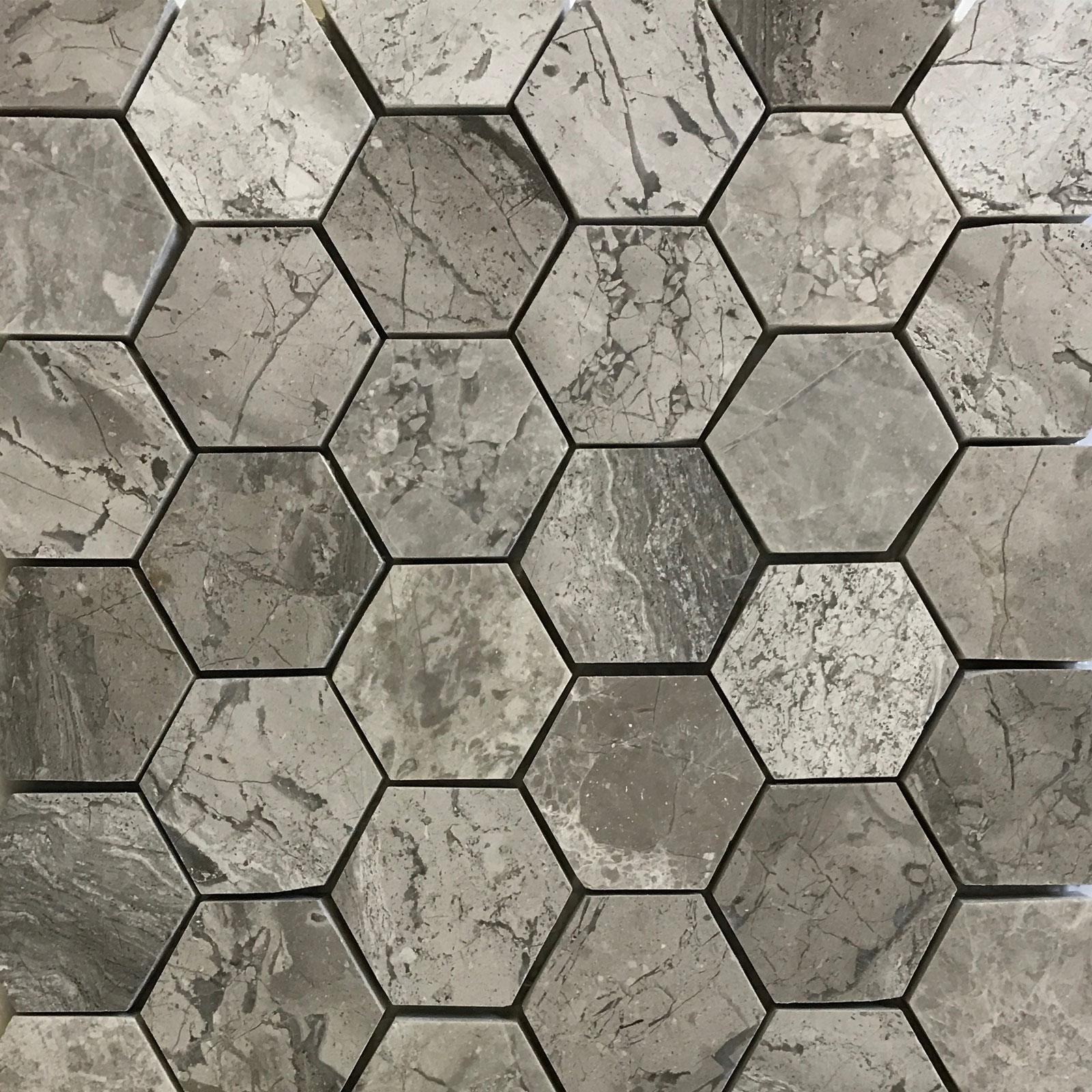 Hexagon Mosaic Grey Marble