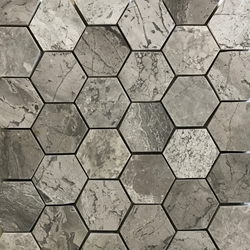 2 Inch Hexagon Mosaic Tile Shades Of Grey Marble Polished