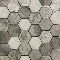 2 Inch Hexagon Mosaic Tile Shades Of Grey White Marble Polished